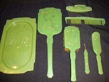 Antique Vintage Green Bakelite Hand Mirror Brush Comb Nail File Tray Vanity Set