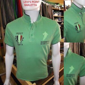 Polo Rugby Uomo Guy Verde In Cotone Con Stampa Mezza Manica Tg M-L-XL-XXL-XXXL