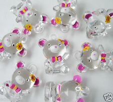 BK29 Teddy Bear Panda Bow Flower Clear Charm Pendant 3pcs