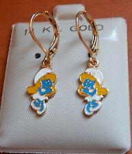 14K Gold Fill Smurf Smurfette Dangle Earrings Kids Girls Little Girl Child USA