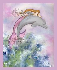 LEAP Dolphin & Mermaid Print from Original Painting By Camille Grimshaw fairy