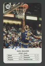 1988 Fournier Estrellas KARL MALONE signed card #16 (JAZZ - Autograph) HOF