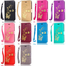 Gold Butterfly Card Wallet Leather Flip Case Cover For HTC M8/M9/Desire 816/820