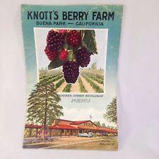 VINTAGE 1950 KNOTT'S BERRY FARM CHICKEN DINNER RESTAURANT MENU BUENA PARK CA