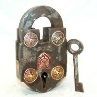 Old 1900s Antique Beautiful Handmade New Brass Design Fitted Iron Pad Lock #50