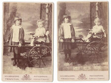 CABINET CARD Children with Hand Drawn Carriage 2 x Photos by Villiers of Newport