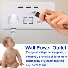 UK Plug Electric Wall Power Outlet Socket with 3 USB Charger Port AC 110~250V
