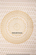 Indian Twin Bed Sheet Cotton Wall Hanging Decorative Gold Ombre Bedspread Cover