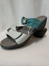 Naot Pinotage Sandals Leather Teal Stretch slides  New With Box! Sz 10