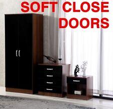 High Gloss Black / Walnut 3 Piece Bedroom Furniture Set - Wardrobe Chest Bedside