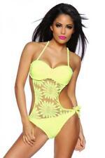 Neckholder Monokini neon gelb florales Muster Badeanzug abnehmbare Träger Gr XL