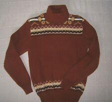 Vintage Polo-Neck Jumper - Age 14 Approx - Rust Chunky-Fair-isle a76746fdae5