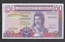 (BN 0018) 1986 Gibraltar 50 Pounds,1st Prefix - UNC