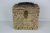 """Vintage 45 rpm Record Case Snakeskin Look Sturdy 8"""" Tall Music Holder Tote"""