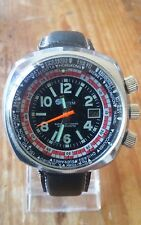 VINTAGE 1970 sistema XXL Triple Crown WORLD TIME SUPER datomatic Divers Orologio