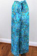 Ralph Lauren Blue Paisley Beach Pool Swim Suit Cover Up Tie Pant Large L 12 14