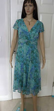 summer / occasion dress Size 8 by Apparel lined in greens & turquoises