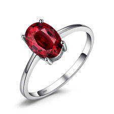 JewelryPalace Oval 1.7ct Natural Red Garnet Birthstone Ring 925 Sterling Silver
