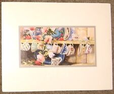 """Marilyn Simandle Watercolor Print Lithographic """" TEACUP PRADE """" Signed"""