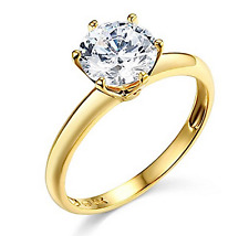 1.50 Ct Round Solitaire Engagement Wedding Promise Ring Solid 14K Yellow Gold