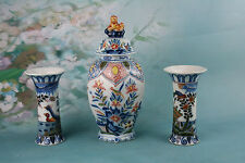 Exclusive MAKKUM TICHELAAR  Delft Pottery Polychrome Garniture set of vases