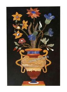 15 x 24 Inches Marble Side Table Top Inlay Coffee Table with Colorful Flower Art