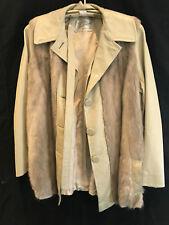 Womens tan leather fox fur jacket Jacksons of Beverly Hills custom size L 1970s