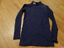 vguc-Under Armour ColdGear Boys Youth ymd  ls Fitted Mock Neck Shirt -blue