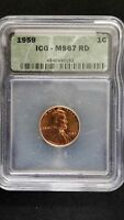 1959 penny ms67RD ICG