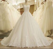 UK White/ivory Lace Strapless  Wedding Dress Bridal Gown Sizes 6-16