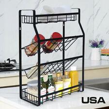 New listing Multi-Functional 4 Tier Spice Rack Kitchen Wall Mount Storage Kitchen Shelf