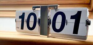 Auto Klapp Flip-Uhr Retro Vintage Wanduhr Tischuhr Uhr Design Edel Chrom 36cm