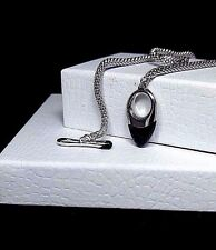 GUESS COLLECTION - Sterling Silver 925-  Black Onyx Toggle 11.1g - Necklace 17""