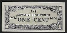 Malaya Japanese Invasion Money 1 Cent 1940's WWII MM Block Unc Scarce!