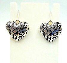 Design Heart Dangle Earrings Valentine'S Day Silver & Black Filigree & Weave