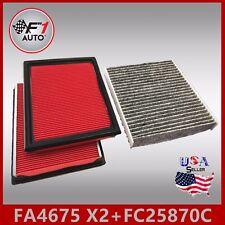 FA4675(X2PCS) FC25870C(CARBON) PREMIUM ENGINE & CABIN AIR FILTER for 09-12 FX35
