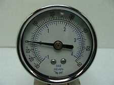 "2"" Dry Vacuum Pressure Gauge Black Steel 1/4"" NPT Lower Mount 30 /0 /60 PSI"