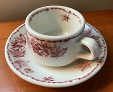 Vintage McNicol Restaurant Ware Coffee Cup And Saucer, Red Maple Print!
