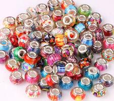 10 x Murano Lampwork Charms Beads Fits European Bracelets Jewellery Making