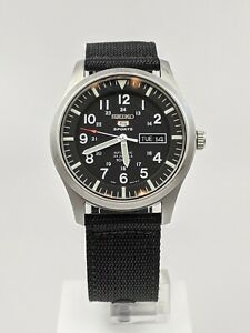 Seiko 5 Sports Automatic Military Black Canvas NATO Strap Mens Watch SNZG15K1