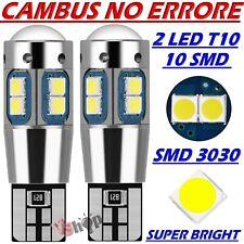 2 Lampade Lampadine LED T10 3030 10 SMD Canbus POSIZIONE TARGA NO ERRORE W5W 12V