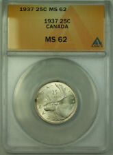 1937 Canada Quarter 25 Cents Silver Coin ANACS MS-62