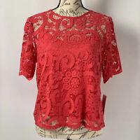 Nanette Lepore Top NWT Pink Lace Blouse MSRP $88 Size Large