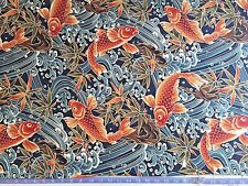 Koi Fish - BLUE Asian Japanese Quilt Fabric (By The Yard) Chinese, Ocean, Bamboo