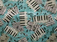 MUSIC LINES NOTES SMALL KEYBOARD BLACK WHITE TEAL GREEN COTTON FABRIC BTHY