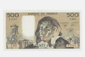 """1990 FRANCE 500 FRANCS """"BLAISE PASCAL"""" aUNC  [P-156g]"""