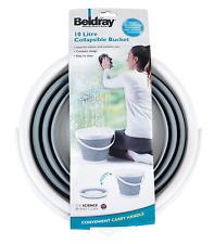BELDRAY 10 LITRE GREY BUCKET COLLAPSIBLE FOLDING WATER POP UP BUCKET