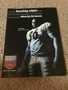 TNT SUNDAY NIGHT NFL FOOTBALL JEROME BETTIS 1990s Poster Print Ad STEELERS RARE