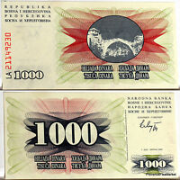 BOSNIE HERZEGOVINE 1992  billet neuf 1000 dinar PONTde MOSTAR pick 15