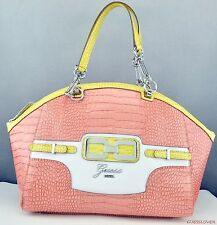 NWT Handbag GUESS Mikelle Lg Satchel Bag Coral Multi Ladies